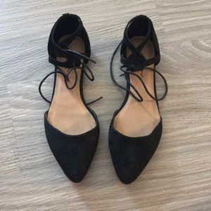 Lace Up D'Orsay Black Flats Size 7.5